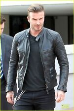 David Beckham Style Motorcycle Leather Jacket - Biker Jacket - REAL LEATHER