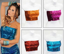 NEW Womens Sexy Club Wear Shiny Full Sequin Stretch Tube Top Elastic Lady Party
