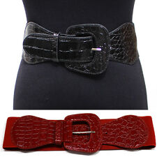 Women Alligator Wide Buckle Elastic Hip Waist Cinch BELT stretch Black S~XL