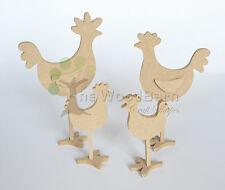 Free Standing Craft Shape. MDF Wooden Chickens