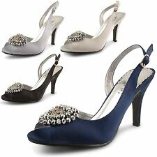 Womens Ladies Diamante Satin Peep Toe High Heel Ankle Strap Sandals Shoes Size