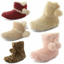 Womens Slippers Ladies Boots Dunlop Ankle Booties Fur Warm Comfy Snug Girls Size