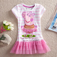 New 2-7 years kid's girl's Cartoon Peppa pig Cotton short sleeve T-shirt Dress