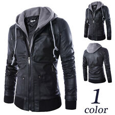 New Mens Black Hooded Slim Motorcycle Biker Faux Leather Bomber Top Coat Jacket