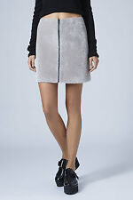 Topshop NEW Faux Fur Zip Through A-line Skirt RRP £42 Size 4 to 16