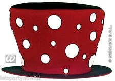 MAXI SPOTTED CLOWN TOP HAT WITH MATCHING SPOTTY TIE CIRCUS CARNIVAL FANCY DRESS