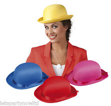 COLOURED SATIN BOWLER CLOWNS YELLOW RED BLUE PINK CARNIVAL FANCY DRESS HAT