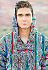 Baja Hoodie Drug Rug Jacket Pullover Poncho Mexican Unisex S-XL Diamond Pattern