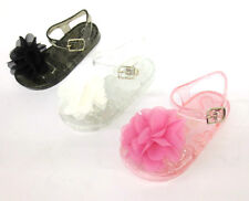 GIRLS SUMMER JELLY SANDALS WITH FLOWER DETAIL UPPER UNBRADED H0134
