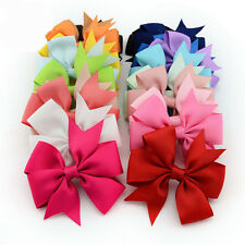 HOT 2 Pcs Girls Boutique Big Bow Hair Clips Grosgrain Ribbon Hairpin Headdress