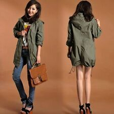 2015 NEW Womens Hoodie Drawstring Army Green Military Trench Parka Jacket Coat