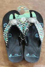 Montana West Cowgirl Western Rhinestone Bling Flip Flops Wedge Sandals Aztec BC1
