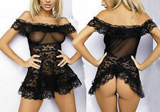 Sexy Women's Lingeries Dress Underwear Transparent Babydolls Sleepwear+G-string