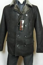 Brown 100% Sheepskin Shearling Leather Double-Breasted Peacoat Jacket Coat S-6XL