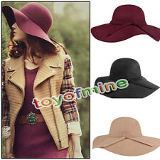 New Elegant Women Lady's Wool Floppy Wide Brim Fedora Bowler Cloche Hat Cap
