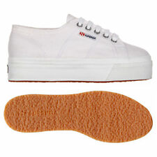 Womens SUPERGA Flatform 2790 Linea Up Down Canvas Trainers WHITE New UK Size 3-8