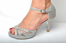 Silver Glitter and Diamante Wedding High Heels Evening Prom Peeptoe Shoes