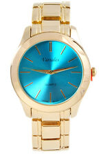Ladies Gold with Colored Face Pink, Aqua, Blue Index dial Simple Fashion Watch