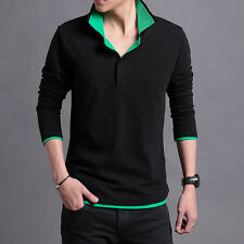 New fashion men's Slim Long-sleeves Tee Casual Top Polo T-shirts