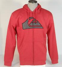 Quiksilver Cardinal Red Sherpa Lined Zip Front Hooded Jacket Hoodie Mens NWT