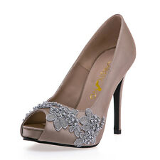 Champagne Peep Toe High Heels, Champagne Satin High Heel with Lace Beadings