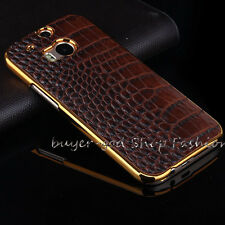 Luxury Leather PU Chrome Hard Back Cell Phone Case Cover For HTC One M7 M8 M9