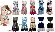 New Womens Ladies Rose Floral Bow Sleeveless Skater Flared Pleated Party Dress
