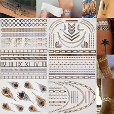 Single sheet temporary metallic tattoo, Gold and Silver. Flash Inspired. Jewelry