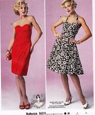 Butterick 6019 Sew Pattern 1950s Retro Inspired Rockabilly Halter Top Dress 4-20