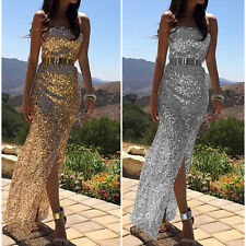 UK SEXY WOMENS LONG SLEEVE PROM BALL COCKTAIL PARTY DRESS FORMAL EVENING GOWN