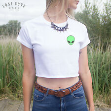 * Alien Head Crop Top Shirt Hipster Grunge Cute Come in Peace Chest Pocket *