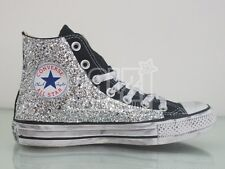 Converse all star Hi nero black  glitter argento