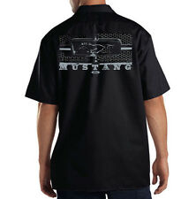 Dickies Black Mechanic Work Shirt Ford Mustang Silver Honeycomb Grill Hot Rod
