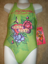 ED HARDY Girl Swimming Costume One Piece Lime Green Glitter Gemstones Age 4-8 yr