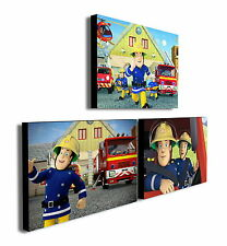 FIREMAN SAM - Set of 3 Mounted Canvas Prints Pictures - 2 sizes available