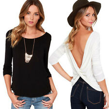 New Women Backless Open Back Long Sleeve Blouse Casual Tops Shirt Size S-XL