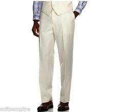 $120 Sean John Pants Flat Front Cream Tonal Striped New Men's Dress Pants AL291