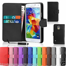 PLAIN LUSSO SOFT TOUCH Leather Wallet Case Cover per Samsung Galaxy S3 Mini