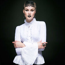Punk Rave Masquerade Long Sleeve White Top [Special Order] - Gothic,Goth,White,S