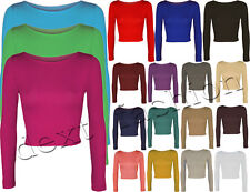 LADIES PLAIN CROPPED CREW NECK LONG SLEEVE GIRLS TOP SHIRT CARDIGANS S/M , M/L