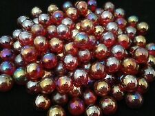 HOM Glass Marbles 14mm Lustered Ruby red Collectors or traditional game solitair
