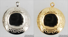 Small round engraved locket with matching necklace option