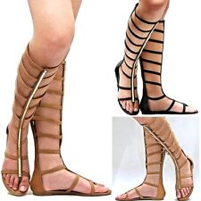 New Women DZU Tan Black Strappy Gladiator Knee High Tall Sandal 5.5 to 10