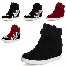 HOT Cheap Women Lady High Wedge Heel Tennis Flats Shoes Velcro Sneakers Boot