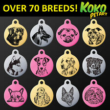 Personalised Engraved Round Aluminium All Popular Dog Breeds Id Pet Tag + Ring