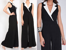 PLUS BLACK WHITE NOTCH COLLAR HIGH WAIST WIDE LEG PALAZZO PANTS SUIT JUMPSUIT