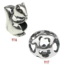 Authentic 925 solid Sterling Silver animals charm big hole bead f/ 3mm bracelet