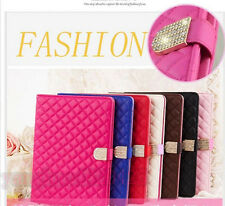 Luxury Magnetic Quilted Diamond Crystal Buckle Stand Case Cover for Apple iPad