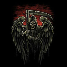 Grim Reaper Skull Angel Wings Chains Crows Cool Gothic T-Shirt Tee