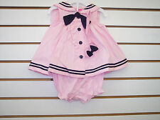 Infant Girls Good Lad 2pc Pink Sailor Dress W/ Matching Headband Size 3/6-24mo